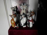 Konvolut 25 Holzkatzen Dekokatzen Sammlung