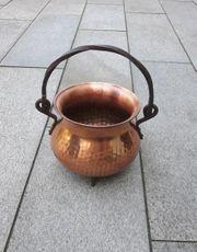 Kupfer Blumentopf mit Henkel und