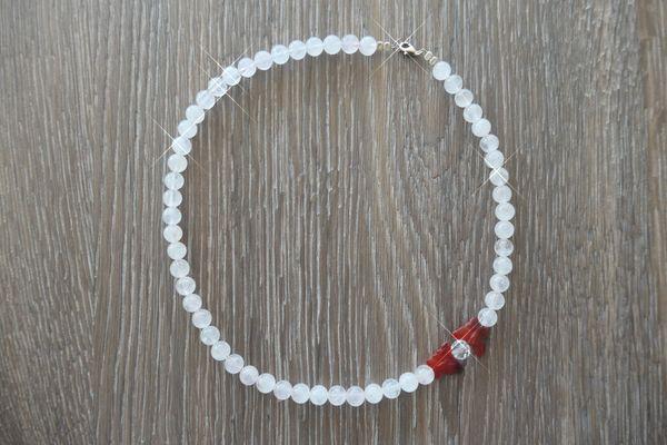 Rosenquarz-Perlenkette mit 2 Schmetterlingen 47