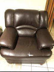 2er Couchset in dunkelbraun zu