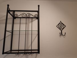 Bad, Einrichtung und Geräte - Bad-Set schwarz Metall Spiegel Wandboard