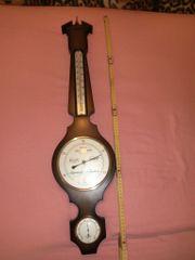 Wetterstation braun Nußbaumopt Thermometer Barometer