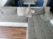 Wohnlandschaft Sofa Couch weiß grau