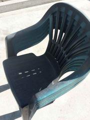 5 Gartenstühle Stapelstühle blau
