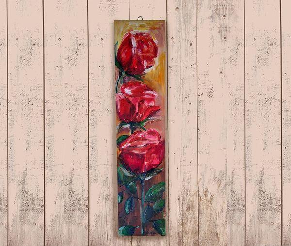 Holzrosen Blumen Kunsthandwerk Ölgemälde