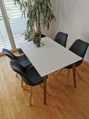 Wildeiche Massivholz Esstisch inkl Stühle