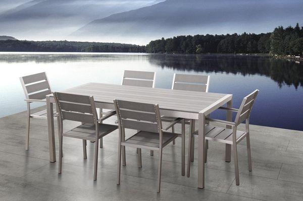 Gartenstuhl grau Kunstholz 6er Set