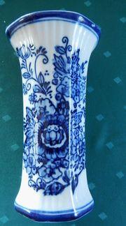 Vase Steinzeug - blaue Bemalung Muster