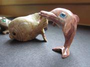5 Stück Steinfiguren - Delfin Fisch Frosch