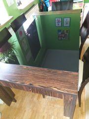 Glas Esstisch mit 6 Stühlen