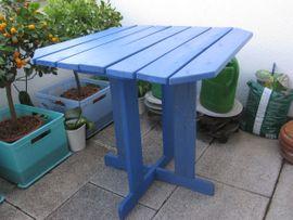 Bild 4 - Holztisch Kiefer 70x70 Blau Balkon - Berching