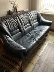 3Sitzer Leder-Sofa und Sessel blau