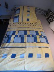 Wendebettwäsche Komfortgröße 155cmx220cm gelb blau