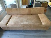 Sofa braun Wildlederoptik Schlafcouch
