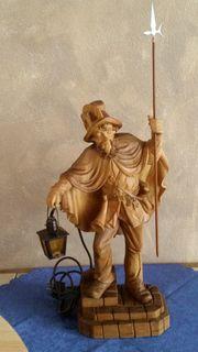Nachtwächter mit Laterne Holz Skulptur