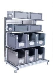 Verkaufsregal inkl 10 Kisten rollbar