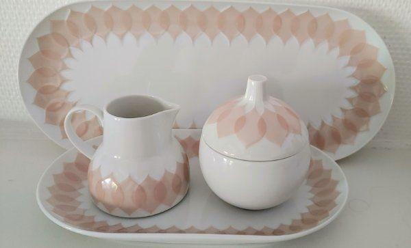 Rosenthal Lotus Gravad Rosa Milchkännchen und Zuckerdose auf Tablett + Kuchenplatte L34 studio-linie