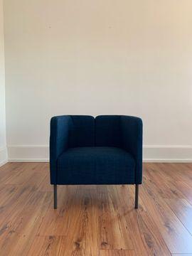 Polster, Sessel, Couch - Sessel in blau und beige