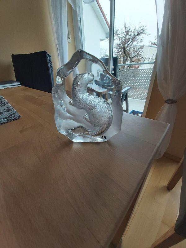 Wunderschöne Bleikristall-Skulptur Fischotter von Mats