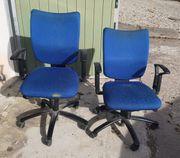 Bürostühle blau 2 Stück je