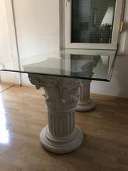 Römertisch Esstisch Schreibtisch mit Glasplatte