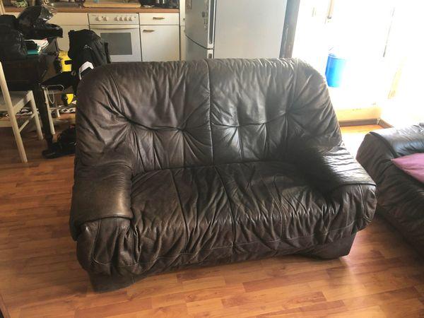 Braune Leder Couch 2 Und 3 Sitzer In Offenburg Polster