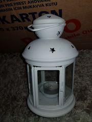 Laterne Metall Windlicht Teelichthalter weiß