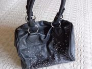 Tasche Handtasche Bowling-Bag Kunstleder schwarz