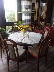 6 Esszimmer Stühle massiv Mahagoni