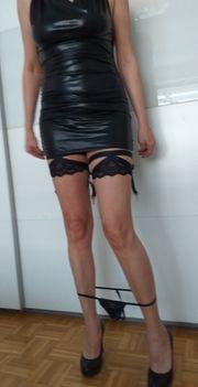 Damen Minikleid mit String PU
