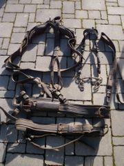 Posten altes Pferdegeschirr Fahrzaum Kammdeckel