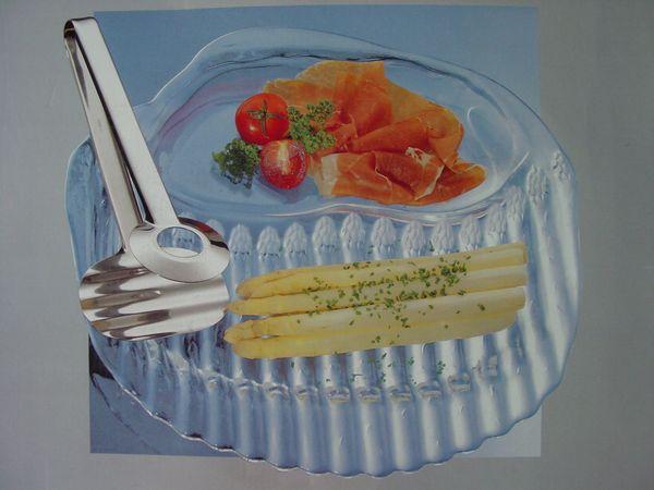 OVP NEU Elegante WMF-Spargelplatte mit Spargelzange Spargelset Servierplatte Spargelteller