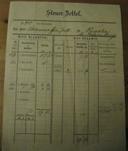 Steuerzettel 1887 88 Dürselen bei