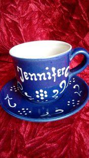 Geschenk 2Tlg Tasse Jennifer Handarbeit