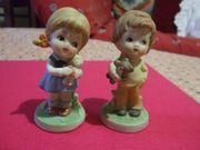 2 Figuren Porzellan Mädchen Junge