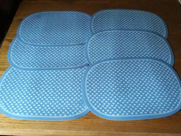 6 Platz-Sets blau-weiß 45cm x