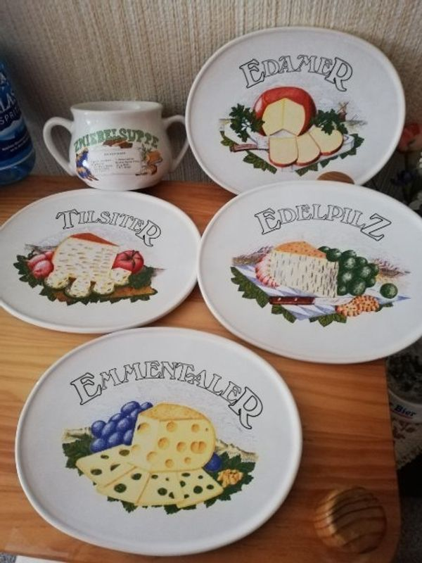 4 Käseteller und 1 Suppenterrine