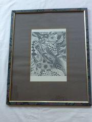 Moderne Kunst Original-Bild Schwarz-Weiss-Grafik