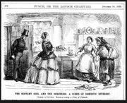Küchenszene-Küchenpersonal-Punch-Original--Holzstich-Graphik-Humor