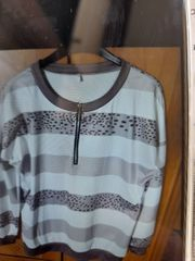 Sweatshirt khaki weiß