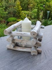 Kerzenständer Holz mit Glaseinsätze