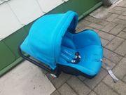 Kombi Kinderwagen blau schwarz