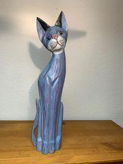 Deko Katze aus Holz - im