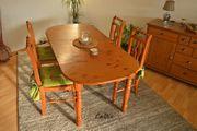 Massivholz Esstischgruppe mit 4 Stühlen