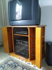 TV-Hifi-Schrank mit Glastüren kirschbaum furniert