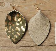 Ohrringe Leder grün Gold