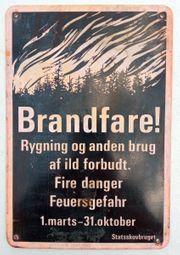 Brandfare dänisch Feuergefahr Warntafel Blechschild