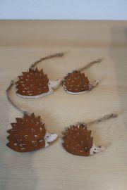Rost Holzhänger Igel 4 Stück