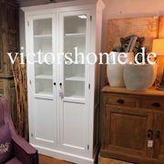 Weisse Landhausvitrine Glasschrank mit Doppeltür
