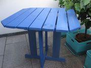 Holztisch Kiefer 70x70 Blau Balkon